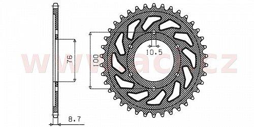 ocelová rozeta pro sekundární řetězy typu 530, SUNSTAR (41 zubů)