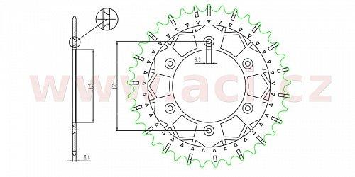 ocelová-nerezová rozeta pro sekundární řetězy typu 520, SUNSTAR (44 zubů)