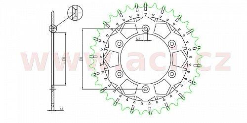 ocelová-nerezová rozeta pro sekundární řetězy typu 520, SUNSTAR (46 zubů)