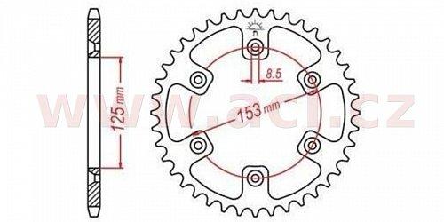 duralová rozeta pro sekundární řetězy typu 520, Q-TECH (stříbrný elox, 49 zubů)