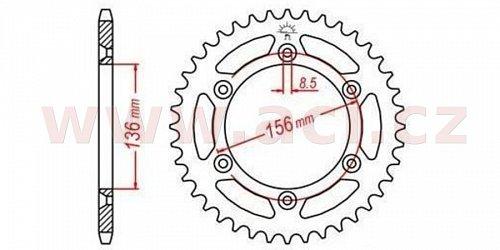 duralová rozeta pro sekundární řetězy typu 520, Q-TECH (stříbrný elox, 48 zubů)