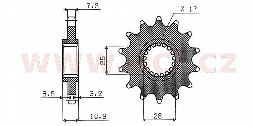 řetězové kolečko pro sekundární řetězy typu 525, SUNSTAR (17 zubů)