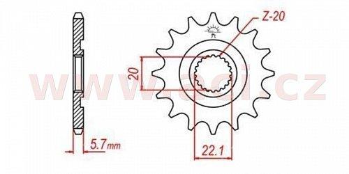 řetězové kolečko pro sekundární řetězy typu 520, Q-TECH (13 zubů)