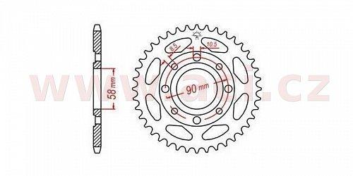 ocelová rozeta pro sekundární řetězy typu 428, JT - Anglie (44 zubů)