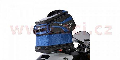 tankbag na motocykl Q30R QR, OXFORD - Anglie (černý/modrý, s rychloupínacím systémem na víčka nádrže, objem 30 l)