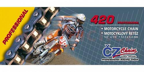 řetěz 420MX, ČZ - ČR (barva zlatá, 130 článků vč. rozpojovací spojky CLIP)
