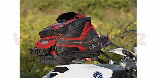 tankbag na motocykl Q4R QR, OXFORD - Anglie (černý/červený, s rychloupínacím systémem na víčka nádrže, objem 4 l)