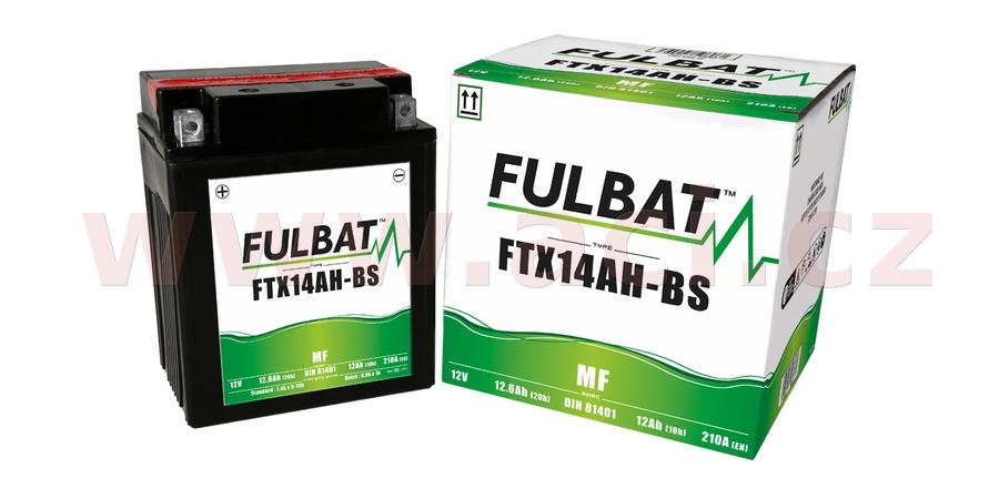baterie 12V, FTX14AH-BS, 12Ah, 210A, bezúdržbová MF AGM 134x89x166 FULBAT (vč. balení elektrolytu)