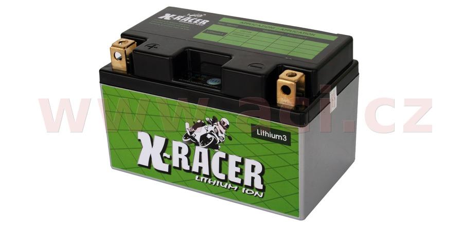 lithiová baterie 3 X-RACER 12V, 18A, 240 CCA, hmotnost 0.84 kg, 150x87x93 mm nahrazuje typy: (CTZ10S-BS)