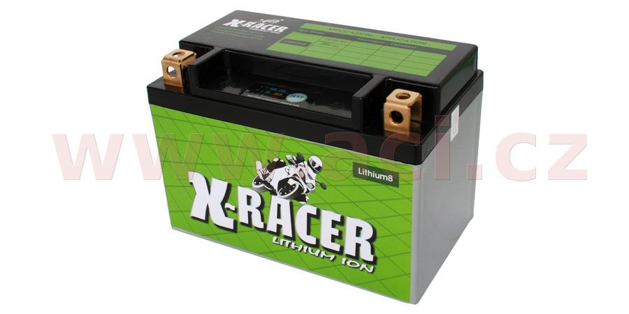lithiová baterie 8 X-RACER 12V, 15A, 180 CCA, hmotnost 0.73 kg, 150x87x105 mm nahrazuje typy: (CBTX9-BS, CTR9-BS)