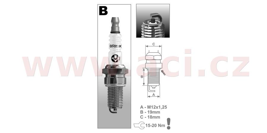 zapalovací svíčka B14C řada Super, BRISK - Česká Republika
