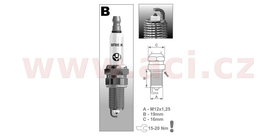 zapalovací svíčka BR12YP řada Platin, BRISK - Česká Republika