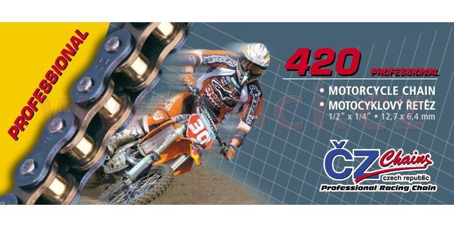 řetěz 420MX, ČZ (barva zlatá, 86 článků vč. rozpojovací spojky CLIP)