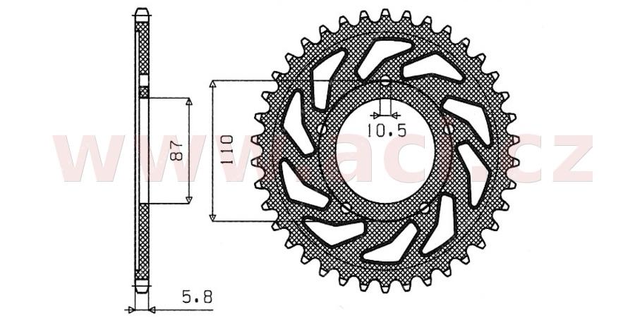 ocelová rozeta pro sekundární řetězy typu 520, SUNSTAR (46 zubů)