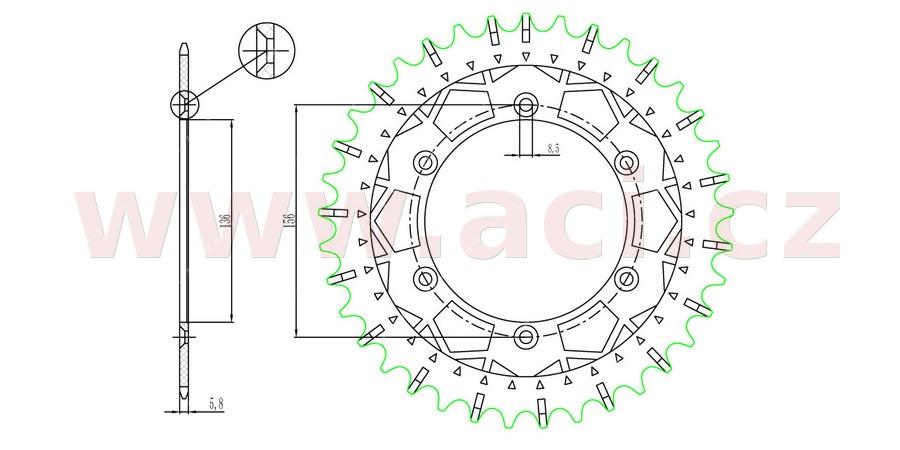 ocelová-nerezová rozeta pro sekundární řetězy typu 520, SUNSTAR (50 zubů)