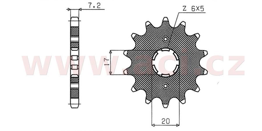 řetězové kolečko pro sekundární řetězy typu 428, SUNSTAR (17 zubů)