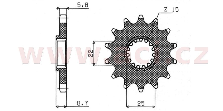 řetězové kolečko pro sekundární řetězy typu 520, SUNSTAR (12 zubů)