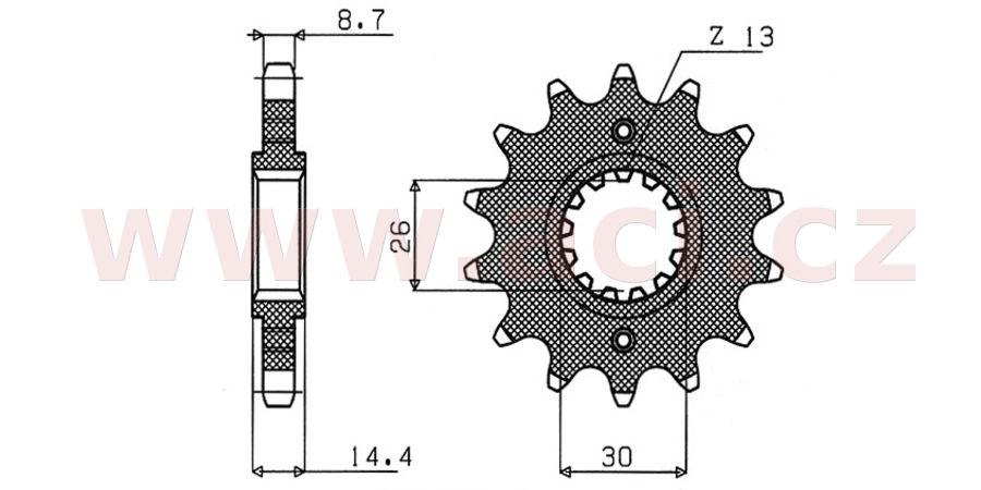 řetězové kolečko pro sekundární řetězy typu 530, SUNSTAR (18 zubů)