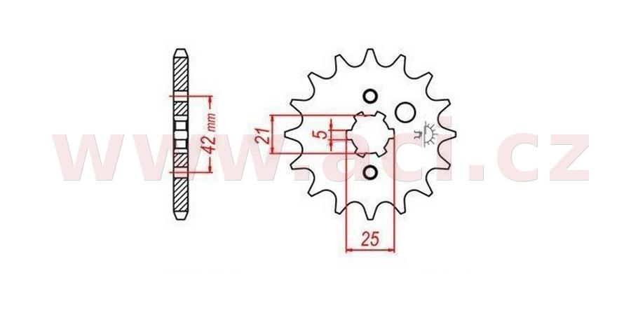 řetězové kolečko pro sekundární řetězy typu 520, JT - Anglie (15 zubů)